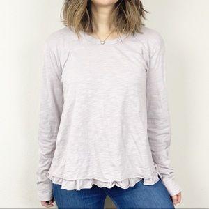 WILT 100% cotton ruffle hem long sleeve shirt
